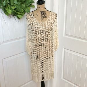 Anne Klein for Sadimara crochet coverup L cream